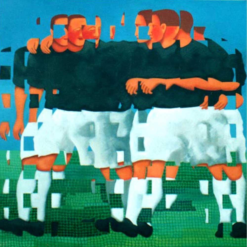 2003 fragmentação 33 - futebol 90x90cm